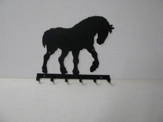 Clydesdale 009 Walking 6 Hook Key Holder Metal Art