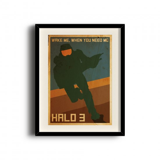 Halo 3 (11 x 17 inch, A3) retro poster, Halo 3 digital art poster