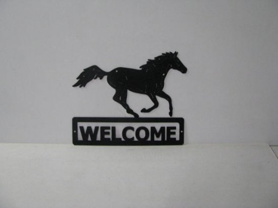 Thoroughbred 002 Running Welcome Sign Silhouette