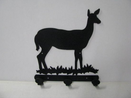 Deer Doe 003 3 Hook Coat Rack Silhouette