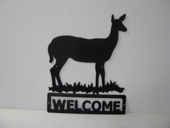 Deer Doe 003 Welcome Sign Silhouette