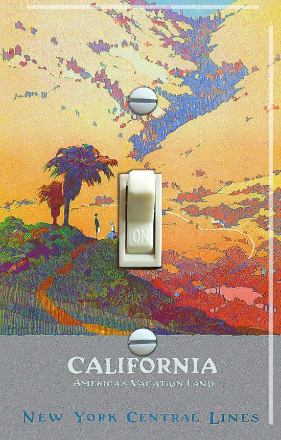 CALIFORNIA Landscape Vintage Travel Poster Switch Plate (single)