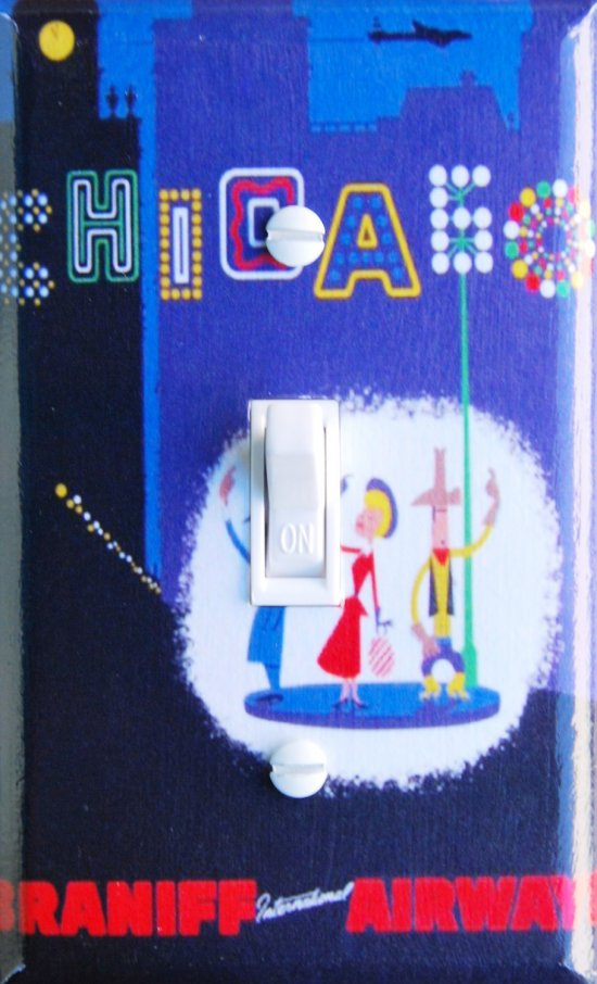 CHICAGO Vintage Braniff Travel Poster Switch Plate (single)