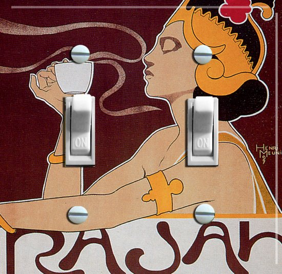 RAJAH COFFEE Vintage Ad Switch Plate (double)