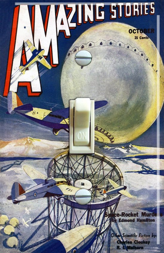 Amazing Stories Magazine Cover Oct 1932 Vintage Switch Plate  (Single)