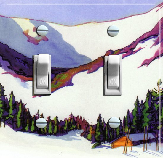 "TUCKERMAN""S RAVINE Vintage Ski Poster Light Switch Plate (double)"