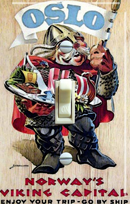 VIKING Guy Vintage Travel Poster Switch Plate (single or double)