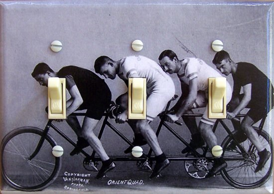 Quad BIKERS vintage photo Switch Plate (triple)