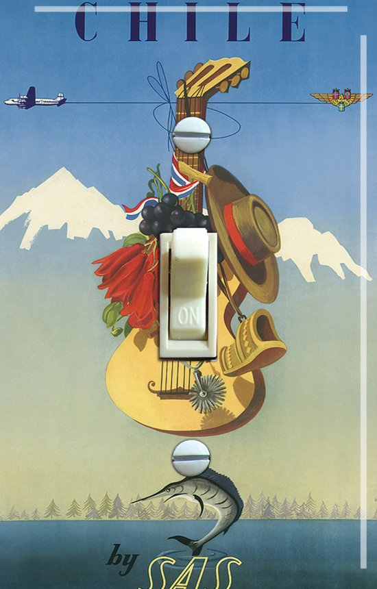 CHILE Vintage Travel Poster Switch Plate (single)