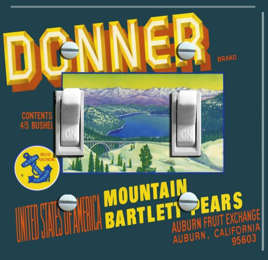 DONNER LAKE Vintage Crate Label Switch Plate (double)