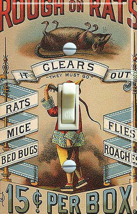 Rough On Rats Vintage Switch Plate (single)
