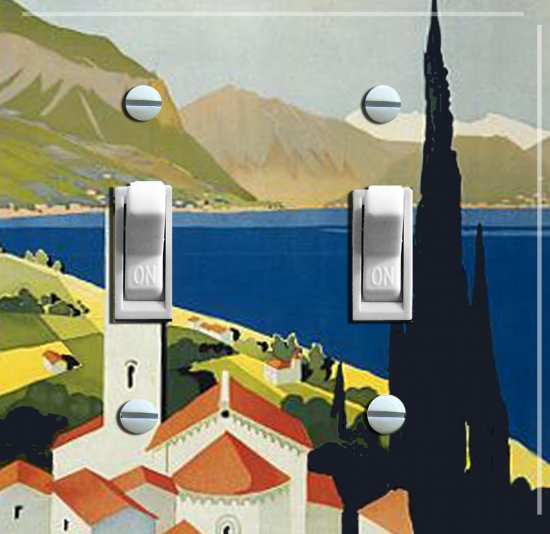 ITALIAN RIVIERA Vintage Poster Switch Plate (double)