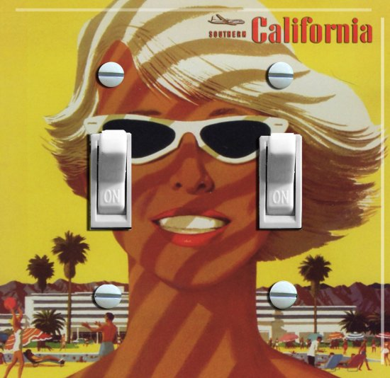 SO CAL Gal Vintage Travel Poster Switch Plate (double)