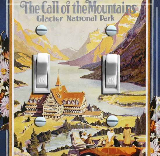 GLACIER National Park Vintage Poster Switch Plate (double)