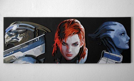 Handmade Mass Effect Squad, Shepard, Garrus, Liara portrait