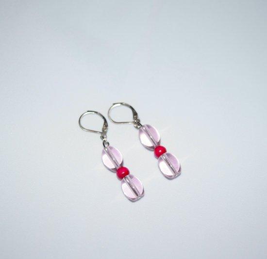 Handmade pink earrings, transparent pink ovals, magenta wood bead