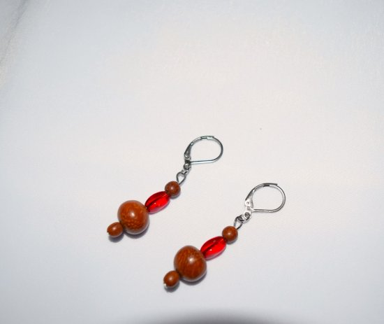 Handmade brown earrings, vintage brown wood and red crystal beads