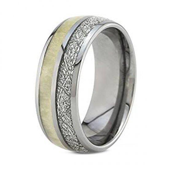 Coi Tungsten Carbide Antler Meteorite Wedding Band Ring Tg4689