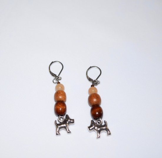 Handmade dog earrings, wood beads, aventurine bead, dog charm