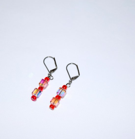 Handmade sparkling earrings, faceted pink crystal cubes, silverlined rainbow red beads