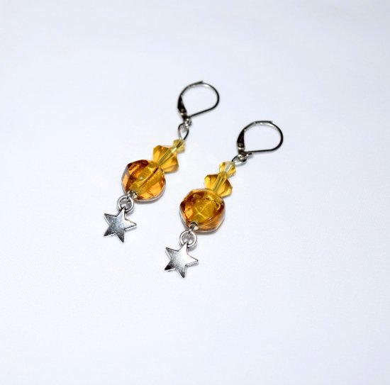 Handmade star earrings, amber colored crystals, star charm