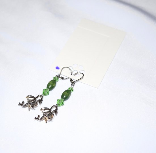 Handmade dragon earrings, dragon charm, vintage green wood & glass crystals