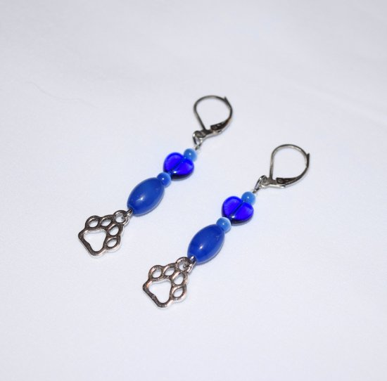 Handmade blue pawprint earrings, blue cat