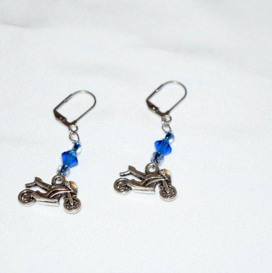 Handmade blue motorcycle earrings, capri blue crystal, E beads and motorcycle charm