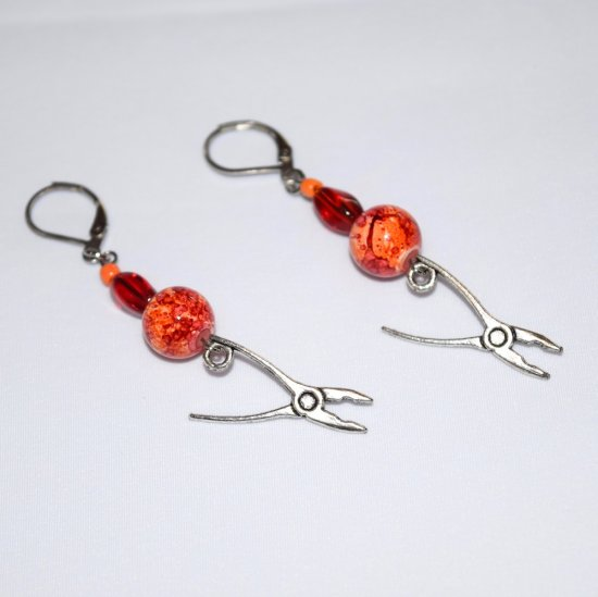 Handmade pliers earrings, red and orange beads, pliers charm