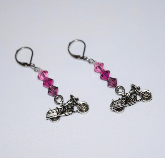 Handmade purple motorcycle earrings, Swarovski crystals in purple, violet and pink, motorcycle charm