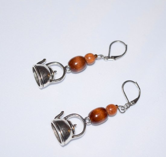 Handmade teapot earrings, brown wood beads, teapot charm