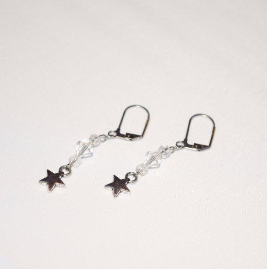 Handmade star earrings, sparkling Czech crystal and crackle glass beads, star charm