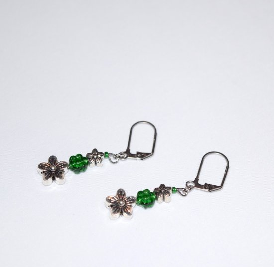 Handmade green flower earrings, silver flower beads and green crystal flower