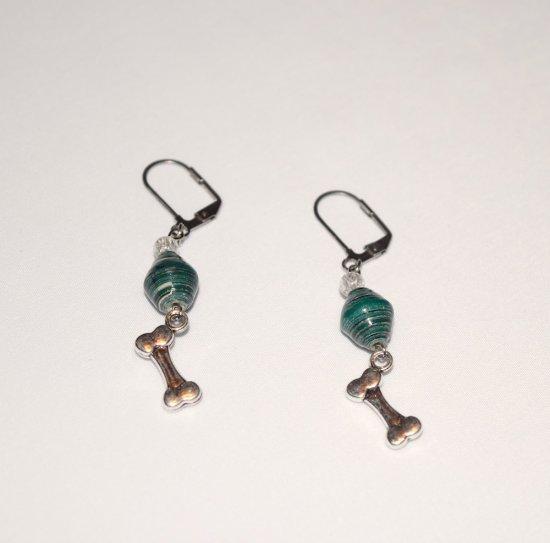 Handmade green earrings, dog bone charm, green paper bicone, crackle glass bead
