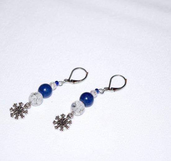 Handmade snowflake earrings, crackle glass and lapis blue resin beads, snowflake charm