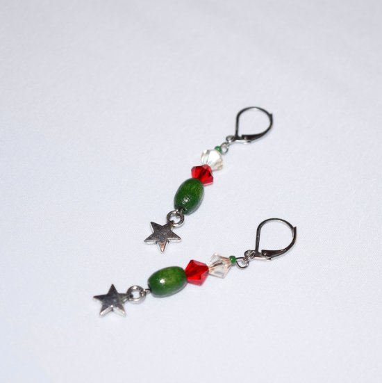 Handmade star earrings, red and clear Czech crystals, green wood oval, star charm, green seed bead