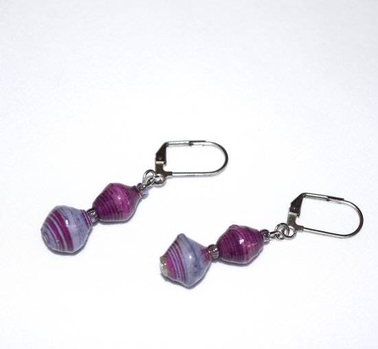 Handmade purple earrings, Bead for Life rolled paper bicones, purple seed beads