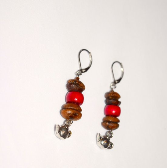 Handmade coffee earrings, coffee bean beads, red wood rondelle and tea pot charm