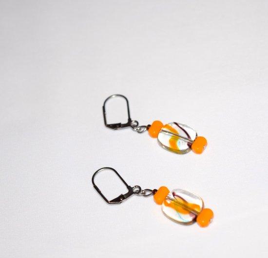 Handmade orange earrings orange glass rectangle beads, clear glass rectangle swirled with orange and brown