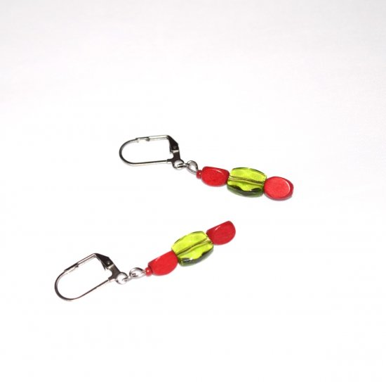 Handmade green and red earrings, red wood triangles, green faceted crystal flat barrel bead