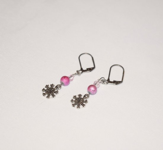 Handmade snowflake earrings, fuchsia beads, snowflake charm