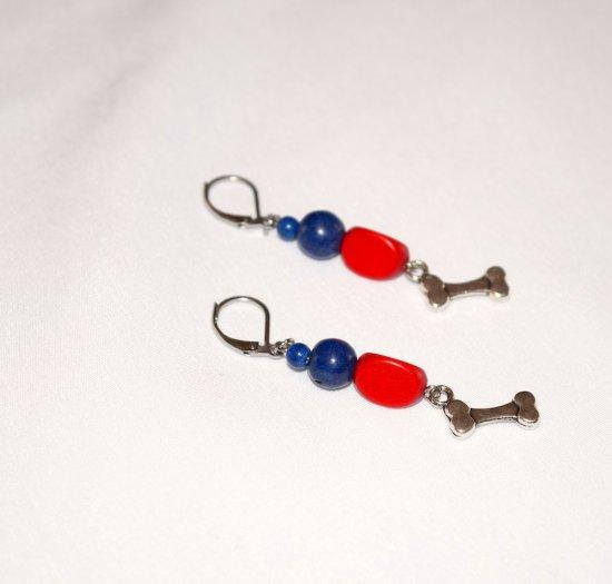 Handmade dog bone earrings, red wood triangle, blue resin beads, dog bone charm