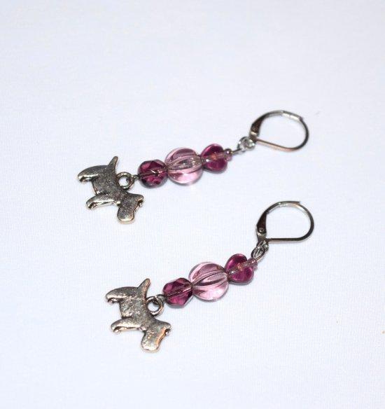 Handmade purple dog earrings, purple heart, fluted crystal, faceted crystal and scottie dog charm