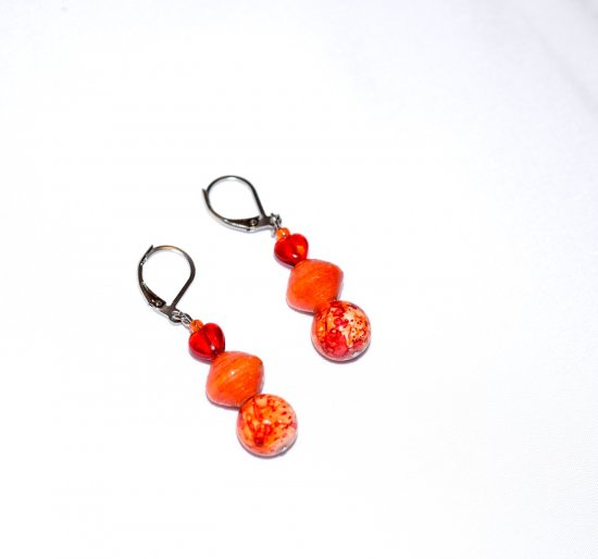 Handmade red and orange earrings, red heart bead, orange paper bead, orange and red ceramic bead