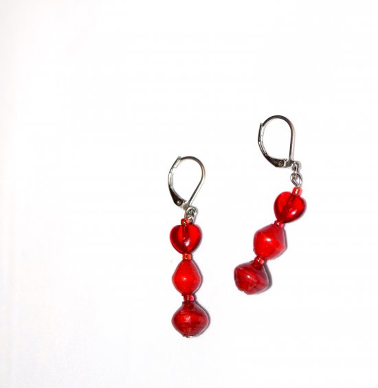 Handmade red earrings, ruby red glass heart, red paper beads  seed beads