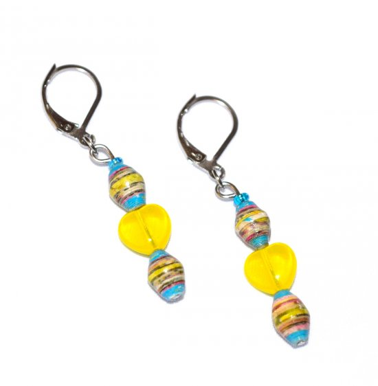 Handmade yellow earrings, yellow glass heart, multicolored rolled paper oval beads