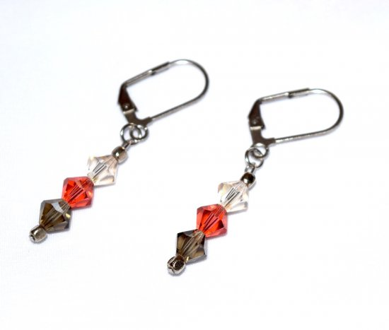 Handmade crystal earrings, 3 Czech faceted crystals in coral, black diamond and pale honey