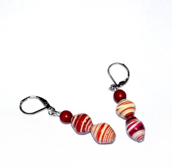 Handmade mismatched cranberry earrings, paper and wood beads in cranberry, magenta and white