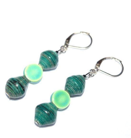 Handmade teal earrings, rolled paper and ceramic coin beads