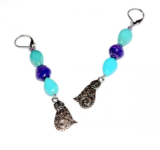Handmade cat earrings, turquoise resin teardrops, purple paper bead, cat charm